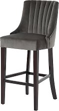 Benito High Back Bar Stool In Grey With Dark