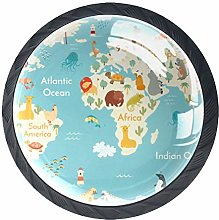 Bennigiry 4 PCS Animals World Map For Children