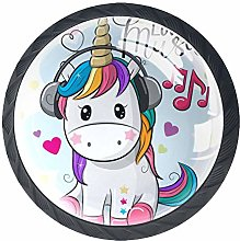 Bennigiry 4 PCS Cartoon Unicorn With Headphones
