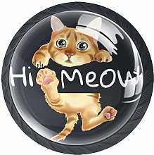 Bennigiry 4 PCS Hi Meow Slogan With Cat Hanging