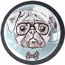 Bennigiry 4 PCS Pug Dog With Glasses Crystal Glass