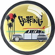Bennigiry 4 PCS Retro Car With Surf Palms Crystal