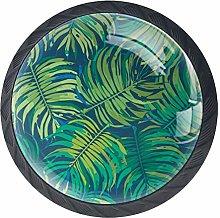 Bennigiry 4 PCS Tropical Leaf Crystal Glass Drawer
