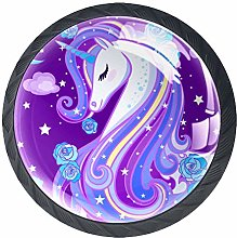 Bennigiry 4 PCS Unicorn With Purple Mane Crystal