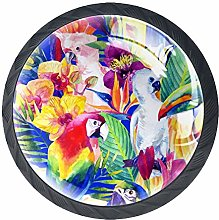 Bennigiry 4 PCS Watercolor Parrots With Tropical