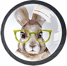 Bennigiry 4 PCS Watercolor Rabbit With Glasses