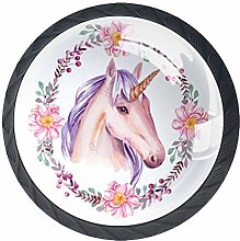 Bennigiry 4 PCS Watercolor Unicorn With Floral