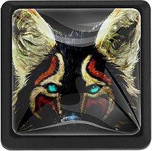 Bennigiry Colorful Fox Square Crystal Glass