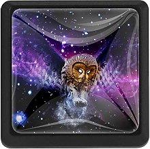 Bennigiry Cosmic Owl Square Crystal Glass Cabinet