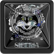 Bennigiry Siberian Husky Square Crystal Glass