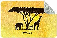 Bennigiry Yellow African Animal Silhouette Area
