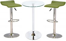 Bente Glass Bar Table With 2 Stratos Green Bar