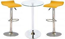 Bente Glass Bar Table With 2 Stratos Yellow Bar