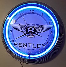 BENTLEY SIGN WALLCLOCK WITH BLUE NEON RIM 15 INCH