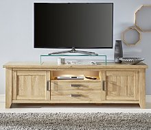 Berger Large TV Stand In Rustic Oak With 2 Doors