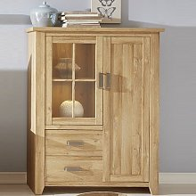 Berger Wide Display Cabinet In Rustic Oak With 2