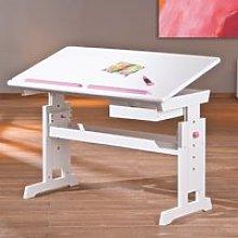 Berito Children Computer Desk In White With Pink