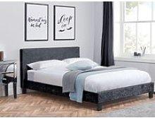 Berlin Black Crushed Velvet Fabric Bed - 4ft Small
