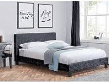Berlin Black Crushed Velvet Fabric Bed - 4ft6