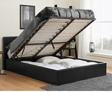 Berlin Black Leather Ottoman Storage Bed Frame -