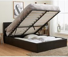Berlin Brown Leather Ottoman Storage Bed Frame -