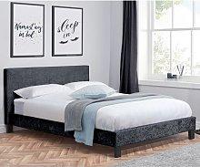 Berlin Fabric Double Bed In Black Crushed Velvet