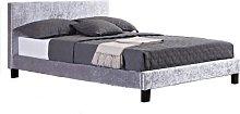 Berlin Fabric Double Bed In Steel Crushed Velvet