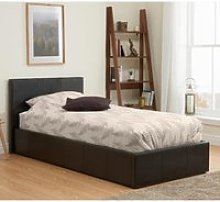 Berlin Fabric Ottoman Single Bed In Brown