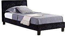 Berlin Fabric Single Bed In Black Crushed Velvet