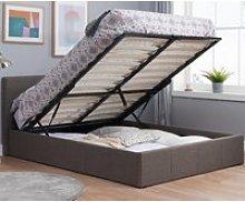 Berlin Grey Fabric Ottoman Storage Bed Frame - 3ft