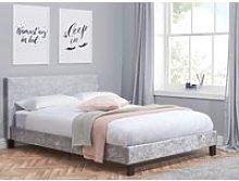 Berlin Steel Crushed Velvet Fabric Bed - 3ft Single
