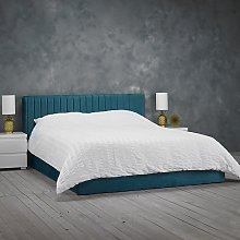 Berlin Velvet Upholstered King Size Bed In Teal