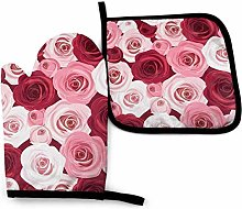 Bernice Winifred Pink Red Rose Flower Oven Mitts