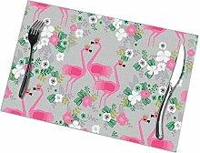 Beryl Shop Botanical Funky Gray Flamingo Placemats