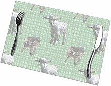 Beryl Shop Pygmy Goat Babies Green Placemats Table