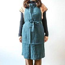 Berylune - Washed Linen Apron Prussian Blue