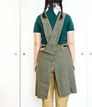 Berylune - Washed Linen Japanese Style Apron Khaki