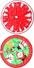 BESPORTBLE 2pcs Christmas Tree Skirt Red Flannel