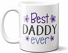 Best Daddy Ever Purple Flowers 15oz Ceramic Mug