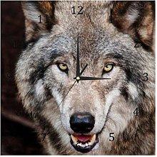 BestIdeas Wall Clocks Animal Wolf Battery Operated