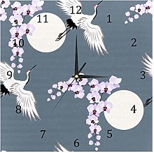 BestIdeas Wall Clocks Crane And Orchids Battery