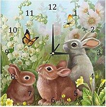 BestIdeas Wall Clocks Family of Cute Rabbits