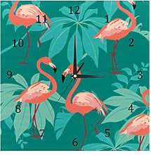 BestIdeas Wall Clocks Flamingo Peering Battery
