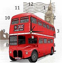 BestIdeas Wall Clocks London Red Bus Battery