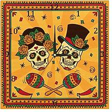 BestIdeas Wall Clocks Mexican Sugar Skulls Battery