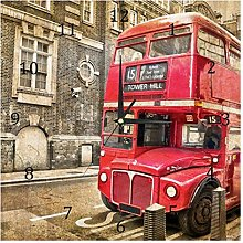 BestIdeas Wall Clocks Red Bus Battery Operated
