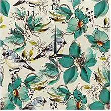 BestIdeas Wall Clocks Retro Birds On Flowers