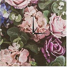 BestIdeas Wall Clocks Rose Flower Banquet Battery