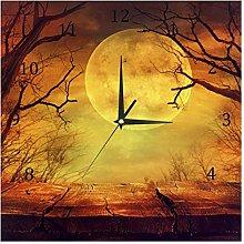 BestIdeas Wall Clocks Spooky Forest with Full Moon