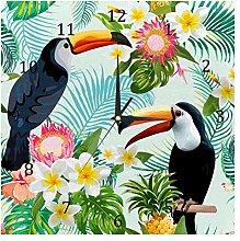 BestIdeas Wall Clocks Tropical Toucan Birds Floral